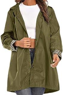 OTW Women's Raincoat Waterproof Hooded Stylish Outwear Buttons Jacket Coat