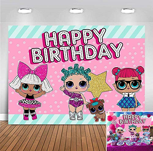 Hot Pink Toy Dolls Girl Photo Background Baby Girls Surprise Happy Birthday Party Decorations Vinyl Green Stripe Photography Backdrop Baby Shower Banner Supplies 5x3ft Candy Table Photo Booth Props
