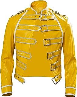 Rock Star Freddie - Disfraz de cosplay para hombre de los años 80 Rock Band Steampunk Wembley Concierto Chaqueta de cuero amarillo