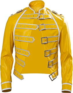 Rock Star Freddie Costume Cosplay Uomini 80s Rock Band Steampunk Wembley Concert Giacca in Pelle Giallo