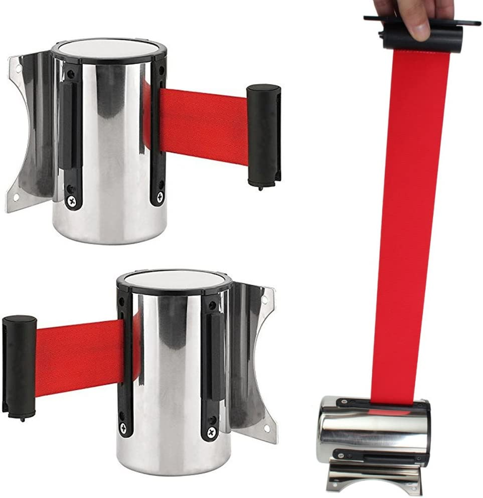 ORETG45 Retractable Ribbon Safety//Security Barrier Belt Wall Mounted Crowd Control Queue Rope