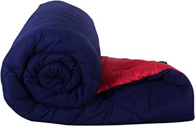 JaipurFabric Navy Blue-Red Double Bed Comforter Microfiber Reversible Jaipuri Double Bed Comforter-250 GSM