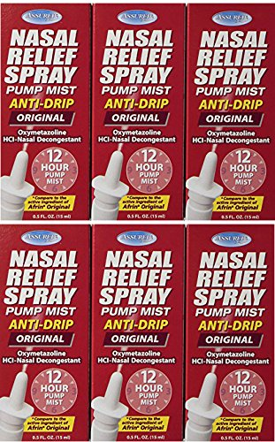 Assured Nasal Relief Spray, 12 Hour Pump Mist Oxymetazoline HCL, 0.5 fl. Oz (6 Pack)
