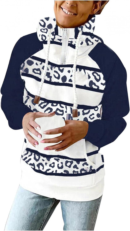COMVALUE Hoodies for Women,Casual Zipper Leopard Print Long Sleeve Lightweight Striped Pullover Sweatshirts