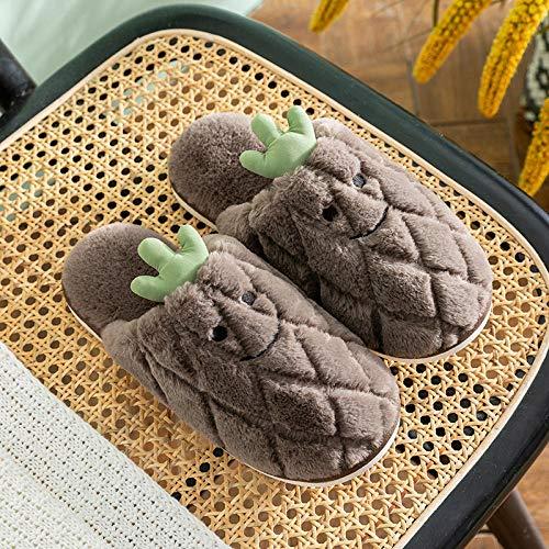 B/H Algodón Calentar Zapatilla Mujer Hombres,Zapatillas de algodón, Felpa Antideslizante en Invierno, Gruesas y calentitas en casa para los Enamorados-marrón_44-45