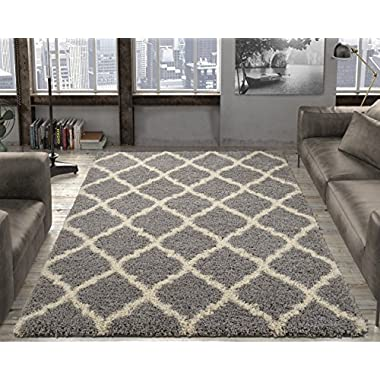 Ottomanson Ultimate Shaggy Collection Moroccan Trellis Design Shag Rug Contemporary Bedroom and Living room Soft Shag Rugs, Grey, 5'3  L x 7'0  W