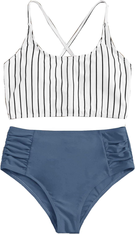 SweatyRocks Women's Bathing Suits Striped Criss Cross Bikini Set High Waisted Swimsuits