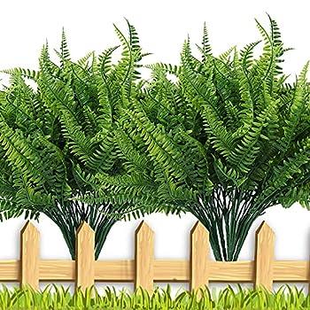 RECUTMS 8 Bundles Artificial Plants Greenery Artificial Ferns Plastic Plants Bushes Artificial Fake Boston Fern Plants Plastic Plants for Indoor Outdoor Home Garden Office Decor(Green)