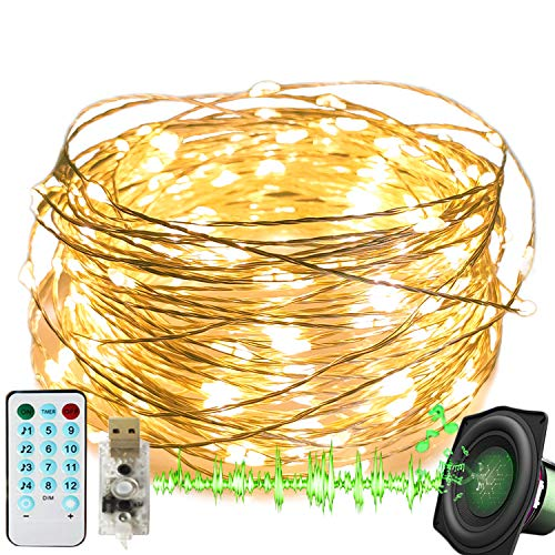 2 Pack Music Sync Starry Fairy Lights, USB Powered 66 FT 200 LED 12 Modes with Remote Control Sound Activated Waterproof Copper Wire String Lights for Indoor Outdoor Ambiance Rope Light Warm White