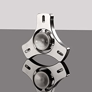 Fidget Spinner, Spinning Fidget Toy, made with Stainless Steel and R188 Bearing. A Hand Spinner, Stress Reducer, Tri-Spinner Fidget toy, Great help for Anxiety. By WOOCOOL. (Platinum Color)
