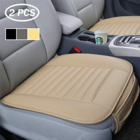 Big Ant Sitzbezüge Auto Sitzauflage Sitzkissen Auto Abdeckung Für Vordersitz Mit Pu Leder Universal Größe Beige 2 Stück Auto