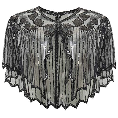 ArtiDeco Sequin Beaded Art Deco Evening Cape Women's 1920s Shawl Wedding Party Shawl Scarf (Black)