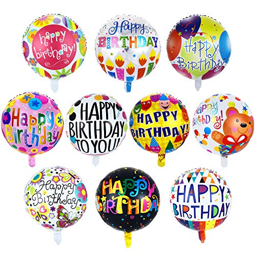30 Pieces Happy Birthday Aluminum Foil Balloons 18 Inches Party Floating Balloons Mylar Balloons for Birthday Party Decoration, 10 Patterns