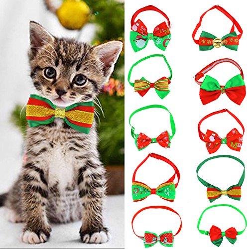OTOTEC 10 Stks Kerst Huisdier Kat Hond Bow Tie Verstelbare Kraag Gespen Necktie Kerst Patroon Verzorging Accessoires, 19-34cm