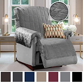 Gorilla Grip Original Velvet Slip Resistant Luxurious Recliner Slipcover Protector, Seat Width Up to 26 Inch Patent Pending, 2 Inch Straps, Hook, Furniture Cover for Pets, Dogs, Kids, Recliner, Gray