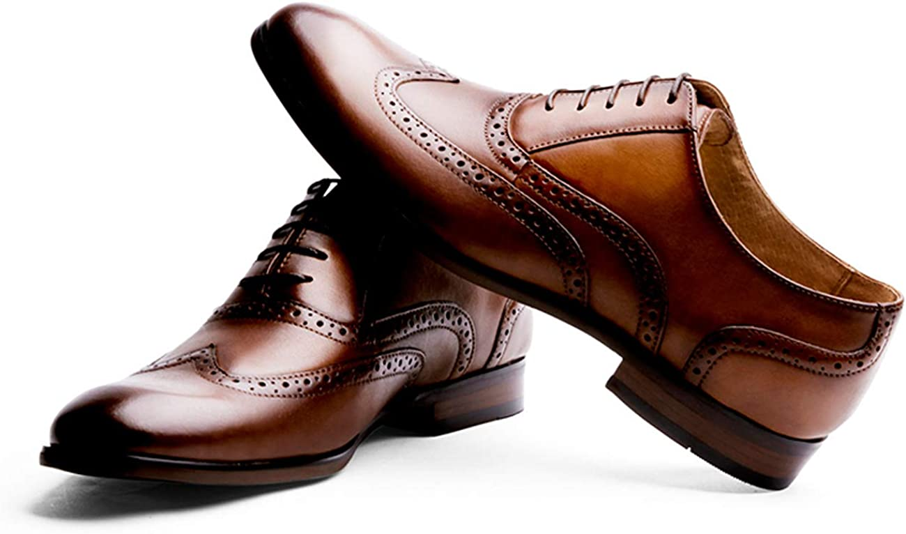 R.PRINCE Men's Oxford Shoes Genuine Leather Oxford Dress Shoes Cap Toe Lace Up, Brown, US Size 13