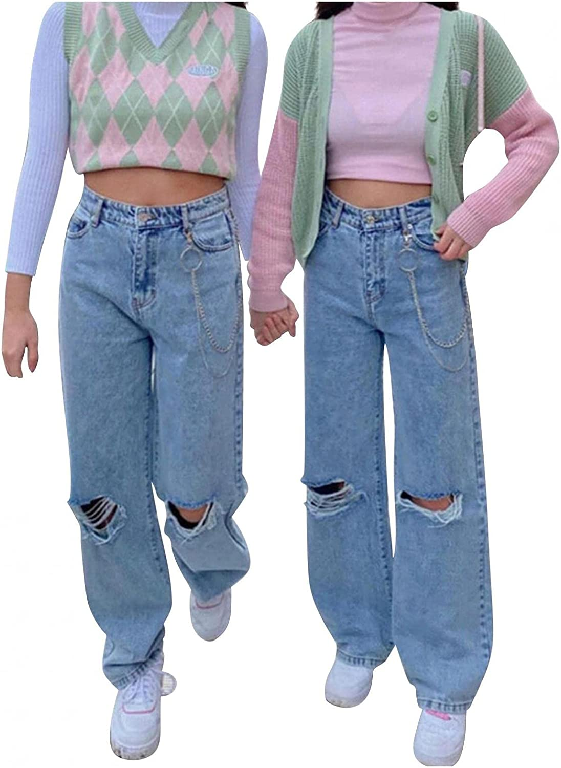Lingbing Fashion Y2K Jeans, Women High Waist Wide Leg Vintage Butterfly Pants Loose Casual Baggy Trousers Ripped Pants