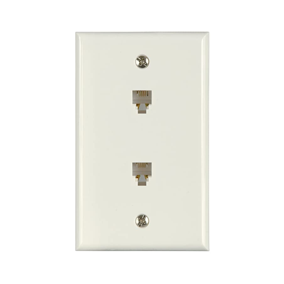 AmerTac - Zenith TW1002DW TW1002DW Flush Mount Dual Phone Wallplate, White Landline Telephone Accessory