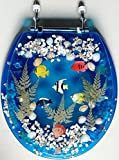 Transparent Fish Aquarium Round Standard Size Toilet Seat with Cover Acrylic Seats.(Blue'17 Inch)
