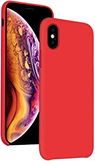 Diaclara iPhone Xs Silicone Case 2018, iPhone X Case Liquid Silicone 5.8'' Hybrid PC Classic Bumper Shockproof Drop Protective Cover for Apple 2018/2017 (Red)
