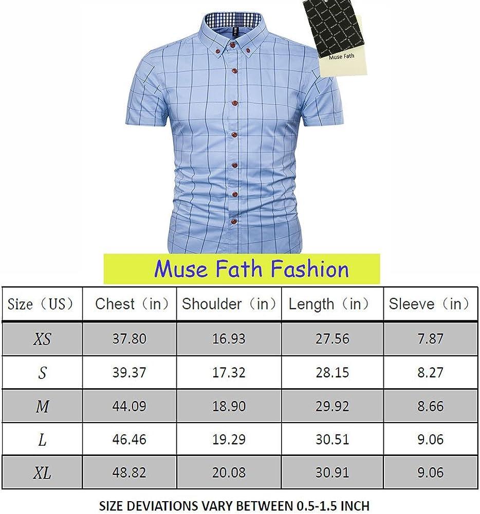 MUSE FATH Mens Cotton Short Sleeve Shirt-Casual Short Sleeve Plaid Shirt