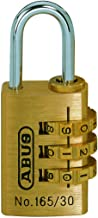 ABUS Cijferslot 165/30 - hangslot van messing - met individueel instelbare cijfercode - 35019 - niveau 3 - messingkleuren
