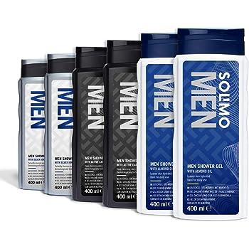 Marchio Amazon - Solimo Gel doccia uomo - Confezione da 6 (2 x Ioni d'argento e olio di mandorla, 2 x Carbone attivo, 2 x Olio di mandorla)