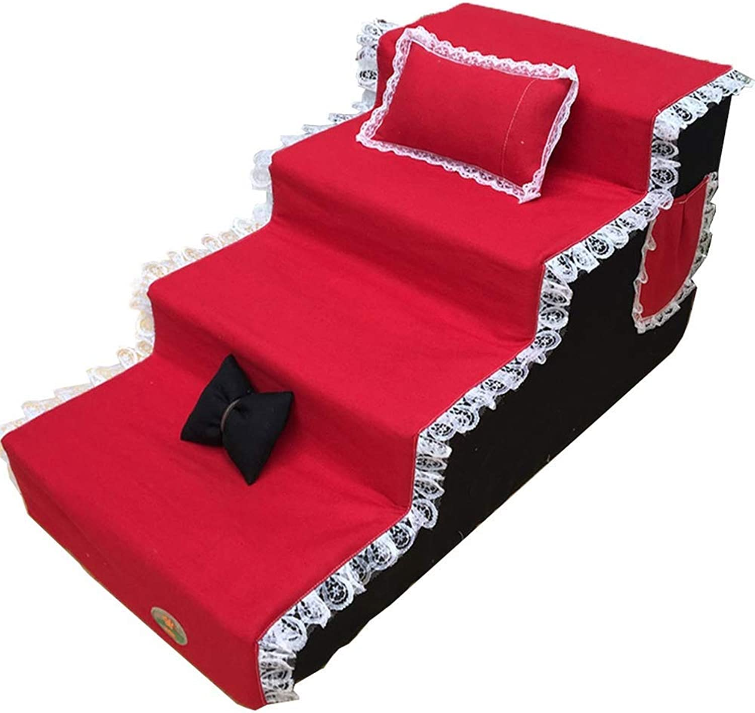 Pet Cat Dog Stair, 4 People High Bed Cat Dog, High Level Sofa Bed, Red And Black,80  40  50Cm