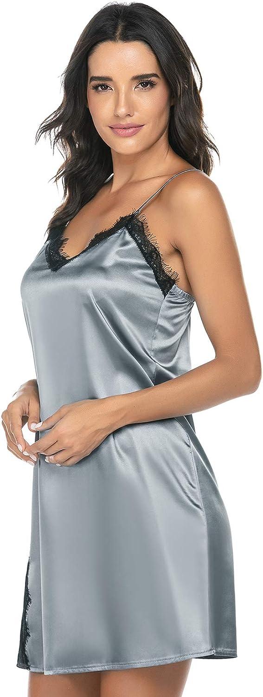 FEOYA Women Nightdress V-Neck Sleepwear Silk Lace Nightwear Lingerie Sleepwear Women Nightgown Grey S