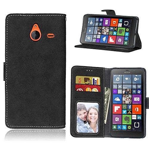 Microsoft Lumia 640 XL Funda, SATURCASE Retro Frosted Cuero De La PU Magnético Capirotazo Billetera Apoyo Bumper Protector Funda Carcasa Case para Nokia/Microsoft Lumia 640 XL (5.7 Inch) (Negro)