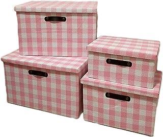 Sepsg 4pcs Panier de Stockage Pliable boîte de Stockage de Coton Cube rayé avec poignée pour vêtements, Livres et Jouets,Pink