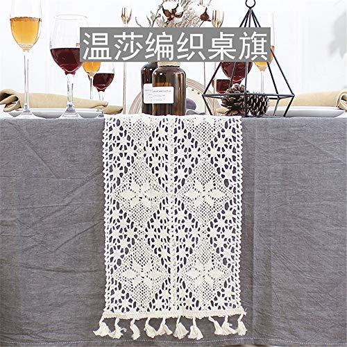 Caminos de mesa Bandera de vector retro de encaje de mesa bandera Bandera de vector de estilo minimalista moderno de tira de paño, bandera de mesa de tejido de Windsor (ancho 24 cm), longitud 180 cm