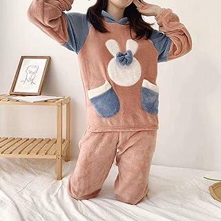 Mariposa conejo pijamas de las mujeres de invierno franela con capucha lindo estudiante casa ropa gruesa pijama pijama coral polar