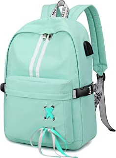 School Laptop Backpack USB College Backpack Casual Travel Daypack with Luggage Strap for Women Girls (Mint Green)