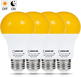 A19 Dusk to Dawn Yellow Bug Light Bulb, LOHAS LED Yellow Front Porch Lights 2000K, 40W Replace Sensor Lights Outdoor for Security, AUTO ON/Off Amber Light Bulbs for Stairs Front Door Yard, 4Pack