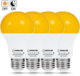 LOHAS A19 Dusk to Dawn Yellow Bug Light Bulb, LED Amber Yellow Bug Sensor Light 40W Equivalent, E26 Security Auto On/Off LED Bulb, 500LM Orange Bulbs for Bug Outdoor, Security Auto On/Off LED, 4Pack