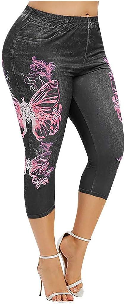 aihihe Womens Bermuda Shorts Plus Size High Waist Tummy Control Stretchy Floral Print Denim Crop Pants Capris Trousers