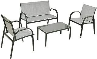 Cypress Shop Fabric Patio Furniture Set Steel Frame Tea Table Glass Top Chair Loveseat Single Sofas Garden Set Bistro Garden Backyard Lawn Deck Black Home Furniture Set of 4
