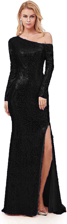 CIRCLEWLD Off Shoulder Long Sleeves Sequin Formal Dresses Slit Mermaid Evening Gown E210