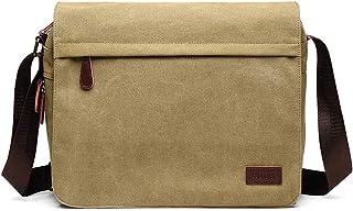 Kono Umhängetasche Leinwand Schultertasche Groß Messenger Bag 13 Zoll Segeltuch Tasche für Arbeit Uni Khaki