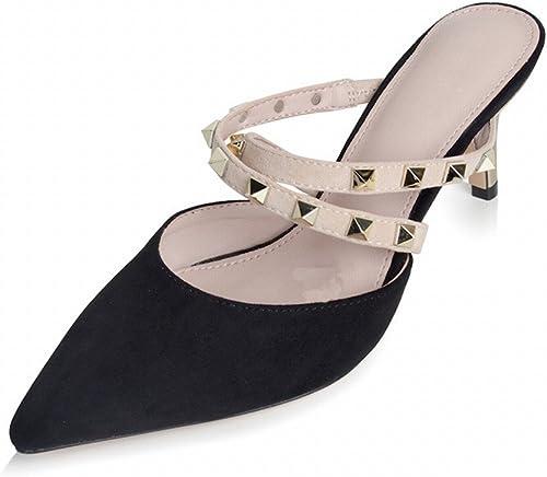 DHG Chaussures à Talon Pointu Femme avec des Rivets Fines avec des Chaussures Baotou Mulei Femme Sandales,Noir,34