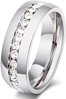 Zealmer Titanium Created Crystal Wedding Band Ring Silver Tone Size 5 to 13