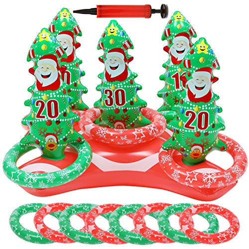 Uniqhia 2 Sets Inflatable Reindeer Antler Ring Toss Game Christmas Tree Santa Ring Toss for Christmas Party Games