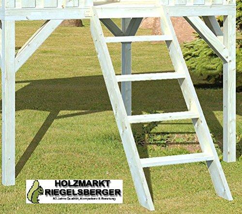 Gartenwelt Riegelsberger houten ladder voor alle speelhuisjes 146x55x12 cm trap houten trap voor platformhoogte 120 cm, natuurlijk sparrenhout, ladder