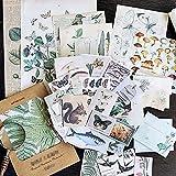 DIY Vintage Scrapbooking Pegatinas Decorativas Material Pack Plantas Flores Mariposa Papel Retro Calcomanías Washi Papel Pegatinas para Portátil, Diario Embellecedor