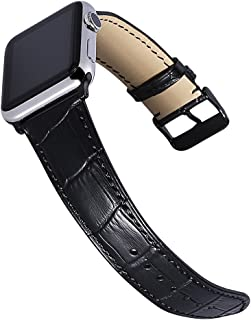 CHIMAERA Compatible for 38MM 40MM 42MM 44MM Apple Watch Band Alligator Grain Genuine Calf Leather Strap Replacement for iWatch Series 1/2/3/4 Black/Gold/Rose Gold Adapters