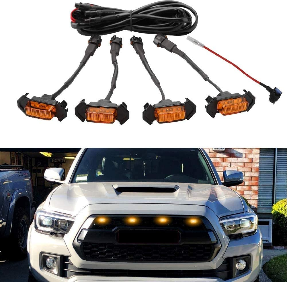 wnelseno Free Shipping Cheap Bargain Gift 4 PCS Amber Lens LED Toyo Grille Latest item Lights with Compatible