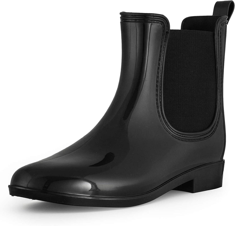 SheSole Women's Short Rain Boots Waterproof Ankle Chelsea Booties