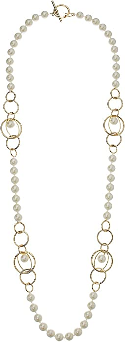 "Pearl Update 36"" Metal Link Strand Necklace"