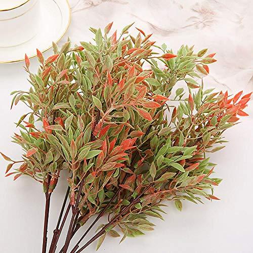 Wenyun 5 plantas artificiales de plástico, plantas verdes artificiales, arreglos florales para fiestas, familia, bodas, decoración de jardín, colores otoñales